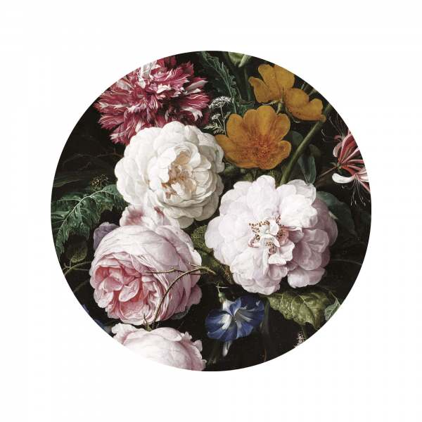 Fototapete Golden Age Flowers ø190cm I Runde Tapete mit Blumenmuster rosa/gelb/grün