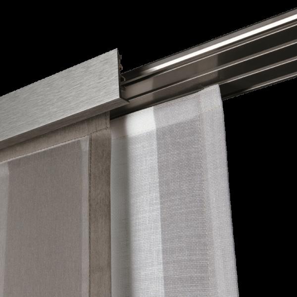 Gardinenschiene Aluminium 1-läufig/2-läufig weiß,silber,titan mit Blende I Deckenmontage