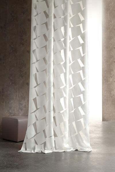 Vorhang Shake moderner Ausbrenner I grafisches Muster I Farbe:weiß