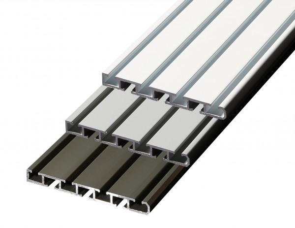 Döfix Gardinenschiene aus Aluminium  3 läufig / 4 läufig Wendeschiene