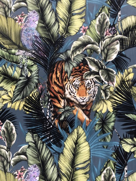 Vorhang Samt Bengal Tiger I Dschungel Tropen grün bunt I Wunschmaß 1 Stück