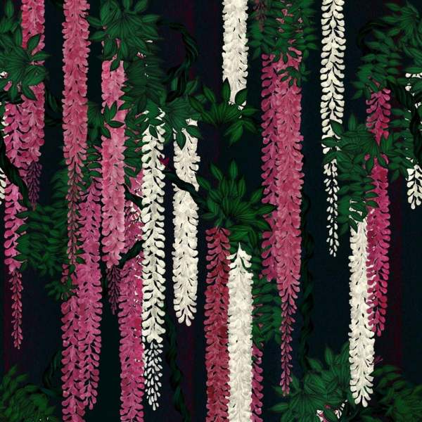 Christian Lacroix Tapete Wisteria Alba Magenta I Floraler Druck I Pink, Mehrfarbig I PCL7032/01