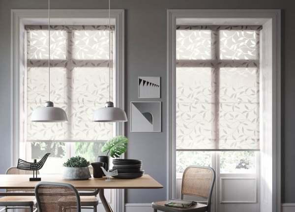 Design Rollo Abaco I Blätter Muster Farbe: Beige I Design auf Maß