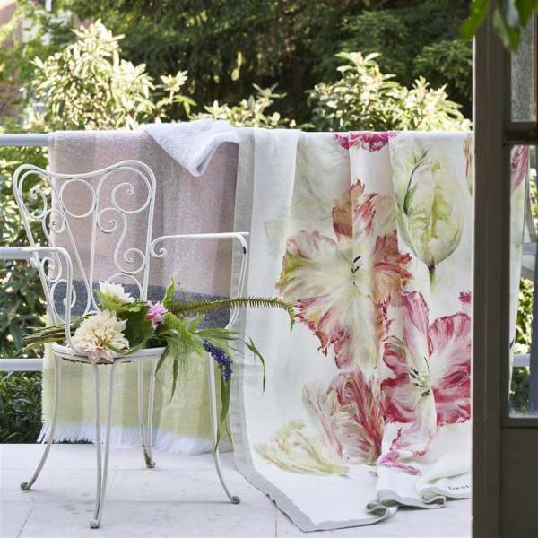 Spring Tulip Designer Plaid handbemalt I Tulpen Muster I 100% Leinen Designers Guild