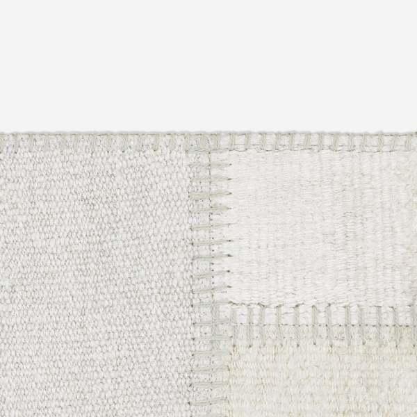 Design Teppich Hemp natürlicher Hanf Kelim I modernes quadratisches Muster/Patchwork I Naturtöne