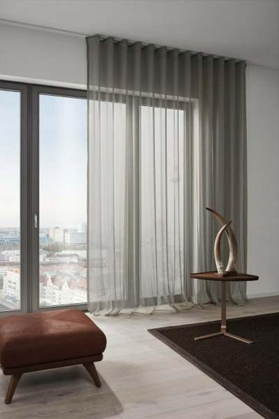 Vorhang Averie modern, halbtransparent mit dezenter Struktur I + Wellenvorhang metallic Farben