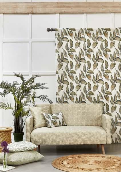 Vorhang Alano Tropic I 100% Baumwolle mit floralem/Blättermuster für Schienen& Stangen