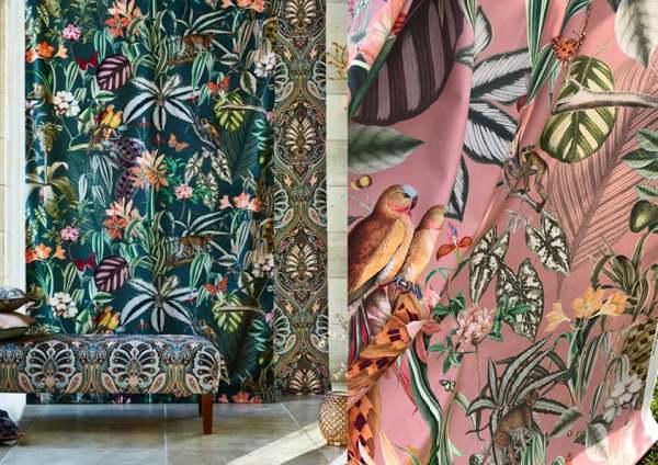 Vorhang Samt Barbados Tropen Urban Jungle Blumen Vögel nach Maß für Schienen&Stangen
