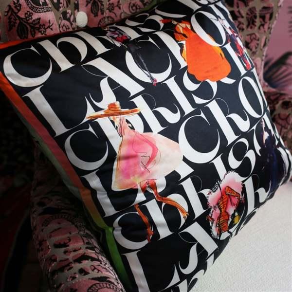 Designer Kissen Lacroix Parade Jais mit ausgefallenem Muster I Modezeichnungen schwarz/weiß