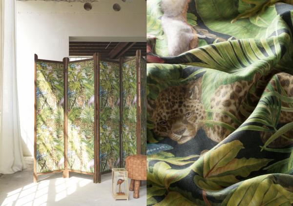 Vorhang Wild Jungle I Auffälliger Dschungel/Pflanzen Druck I 100% Leinen I blickdicht