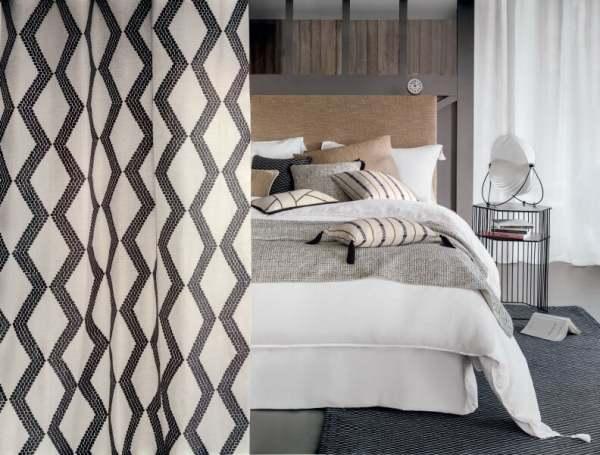 Deko Vorhang Soho Silver Grafik Muster Stickerei I Farbe: schwarz/ weiß I moderne Einrichtungen