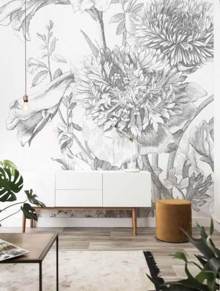 Fototapete Engraved Flowers, Tapete mit großem Blumenmuster / floral I schwarz/weiß