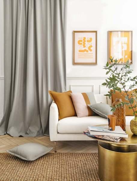 Vorhang Honey I Bio-Baumwolle weich fließend I blickdicht weiß, creme, grau, senf