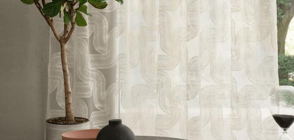Vorhang Ausbrenner Adore I elegantes, grafisches Wellenmuster beige/weiß I Skandi-Living