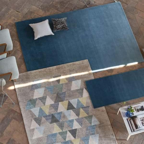 Moderner Wollteppich Padua mit wunderschönem Farbverlauf/Ombré Look blau&natur Designers Guild