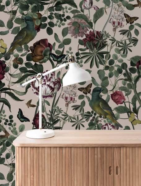 KEK Fototapete Bold Botanics, Tapete mit Blumen I floral hell beige grün/rose