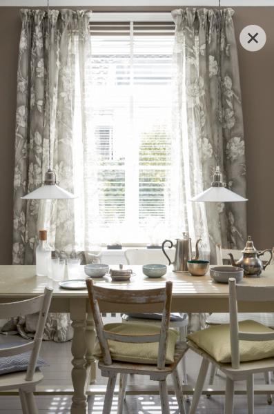 Vorhang Fiora Leinen Blumenmuster blau + beige/braun I Landhaus