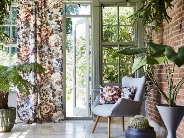 Vorhang Samt Secret Oasis abdunkelnd I Oase Exotische Pflanzen I Wunschmaß