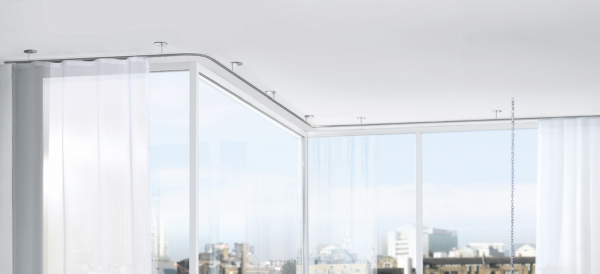 Zenit 25 W Interstil Vorhangstange mit Innenlauf auf Maß Decke I Wellenvorhang