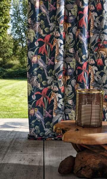 Outdoor Vorhang Exotic mit tropischem Motiv/Dschungel Tiere, Pflanzen I Balkon/Terasse Jab Anstoetz