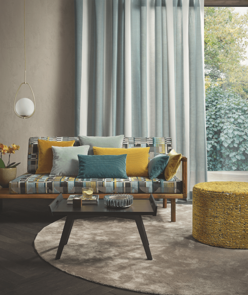 Vorhang Peppino mit modernem Blockstreifen Muster I blickdicht I für Schienen&Stangen