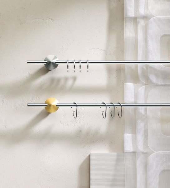 Interstil Edelstahl Scheibengardinenstange Window 8 massiv geschliffen I 8mm zur Wandmontage