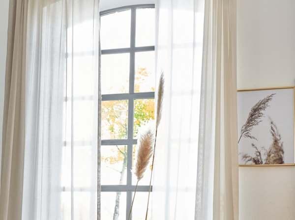 Moderner Vorhang Hannah I schlicht-elegant I natürlicher Batist 100% recycelte Garne