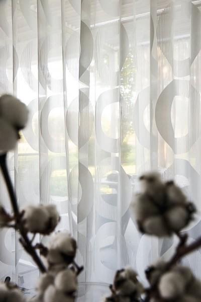 Vorhang Linnia Modernes grafisches Muster Kreisform Retro I halbtransparent nach Maß
