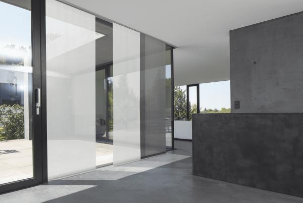 Flächenvorhang Basic transparent Farbe weiß / schwarz