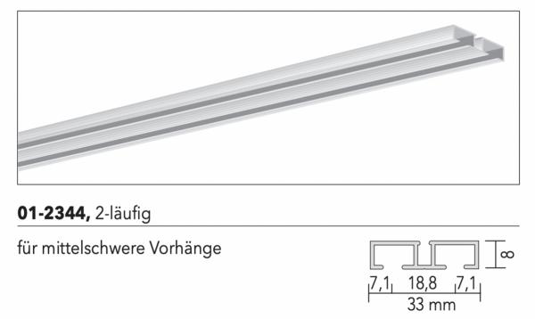 MHZ Vorhangschiene Futur 01-2344 2-läufige Schleuderschiene für mittelschwere Vorhänge I Decke