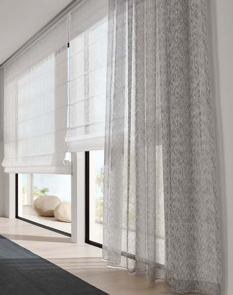 Gardine Ciuffo mit modernem Muster/Fransenlook I halbtransparent I grau/weiß/beige I +Wellenvorhang