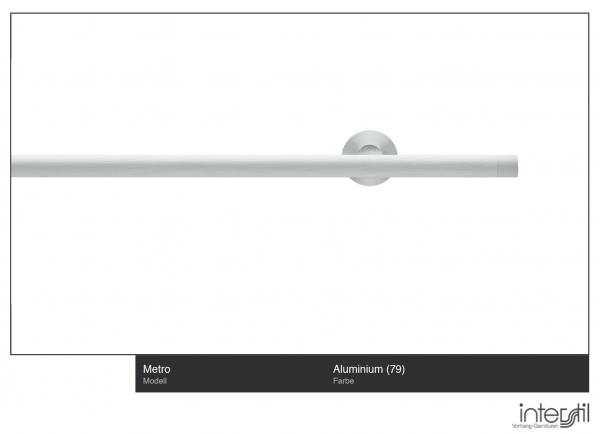 Interstil Metro Gardinenstange Weiß mit Innenlauf I Wandmontage