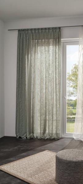 Vorhang Joshie halbtransparent mit Blättermuster auf Maß für Vorhangschienen& Stangen