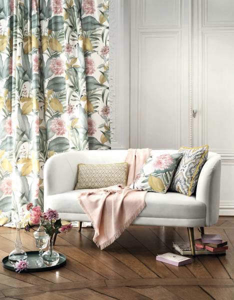 Vorhangschal Margaux I Blumen/Floral I für Stange, Gleiter und Haken I 1 Stück I Camengo Paris