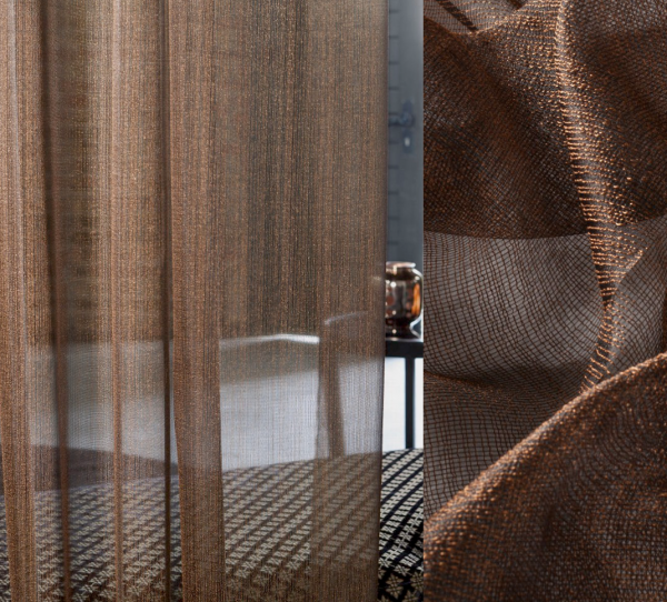 Edler Designer Vorhang Turtle Bay I transparent metallic kupfer/schwarz/weiß + Wellenvorhang