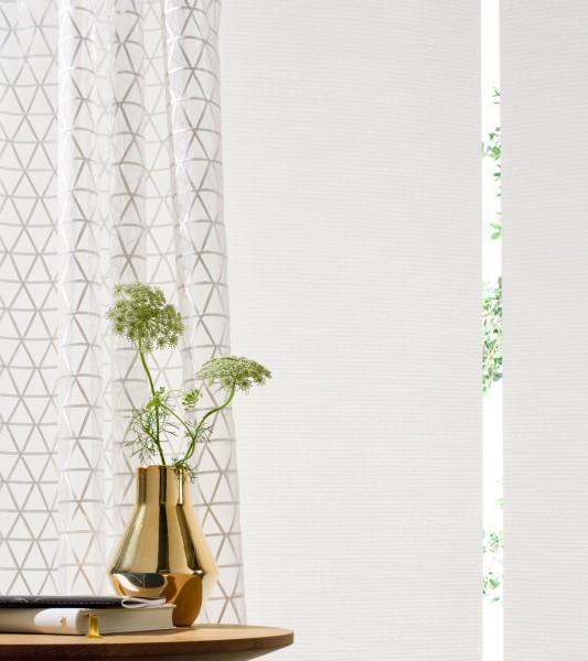 Gardine Neox moderner Ausbrenner mit grafischem Muster gold/weiß/silber I Jedes Wunschmaß