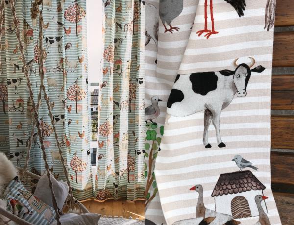 Vorhang Farm Life Kinderzimmer blickdicht beige/hellblau mit Streifen I Tiermuster