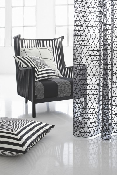 Gardine/Organza Sue mit grafischer Stickerei schwarz/weiß I Moderner Wohnstil I Wunschmaß