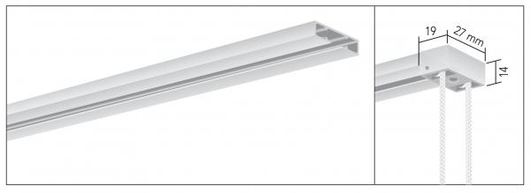 MHZ Vorhangschiene 01-2354 1-läufige schmale Schleuderschiene mit Schnurzug I mittelschwere Vorhänge
