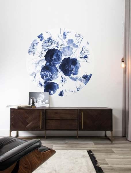 Fototapete Royal Blue Flowers, ø142.5 cm I Runde Tapete mit Blumenmuster blau/weiß I KEK