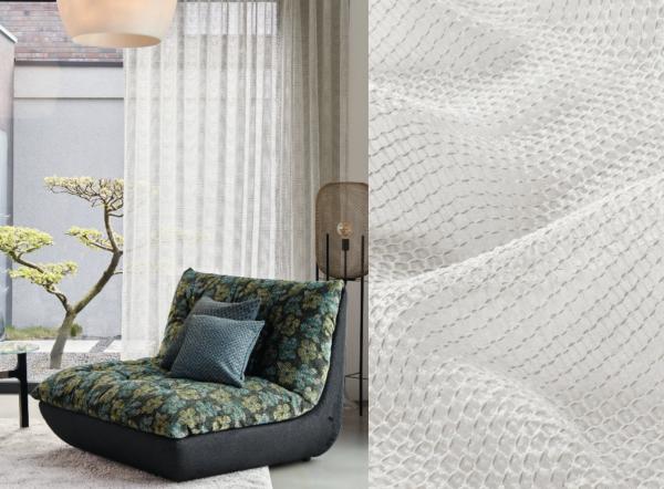 Vorhang Malaika mit moderner Struktur I halbtransparent + Wellenvorhang