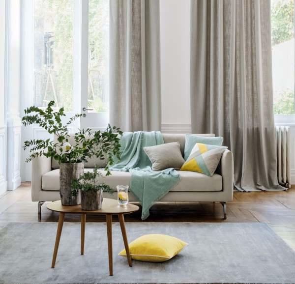 Natürlicher Vorhang Brugges I blickdicht/Leinenoptik in 36 Farben (weiß/beige/grau)
