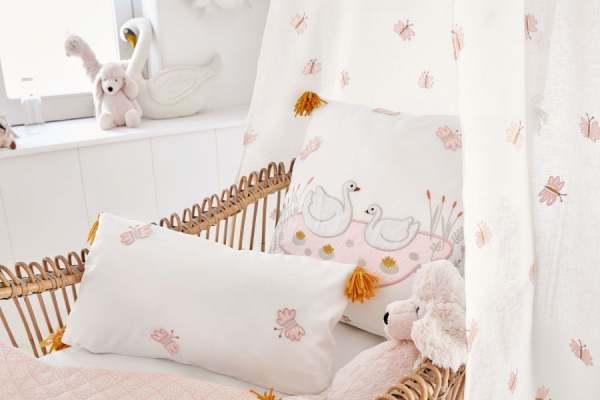 Vorhang Adorable Kinderzimmer I weiß mit aufgestickten Schmetterlingen I Farbe: weiß/rosa