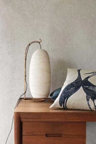 Kissenhülle Design Love Birds Leinen mit Druck blau/gold/schwarz I 50x50cm