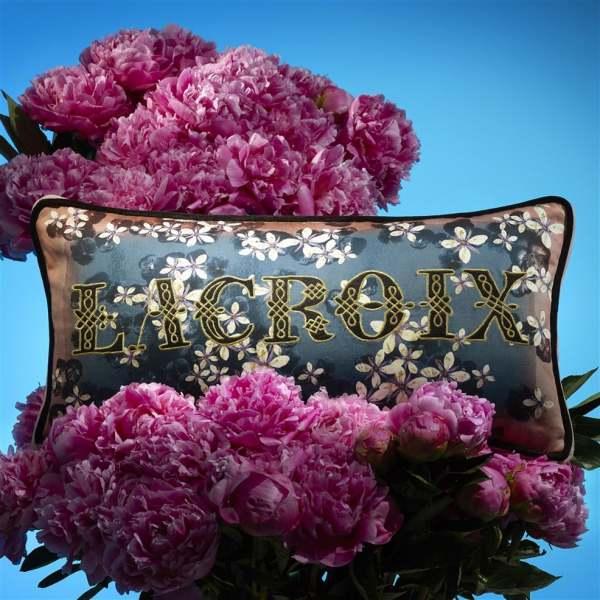 Designer Kissen Cherry! Blue Denim Lacroix I Kirschblüten I blau/weiß/schwarz