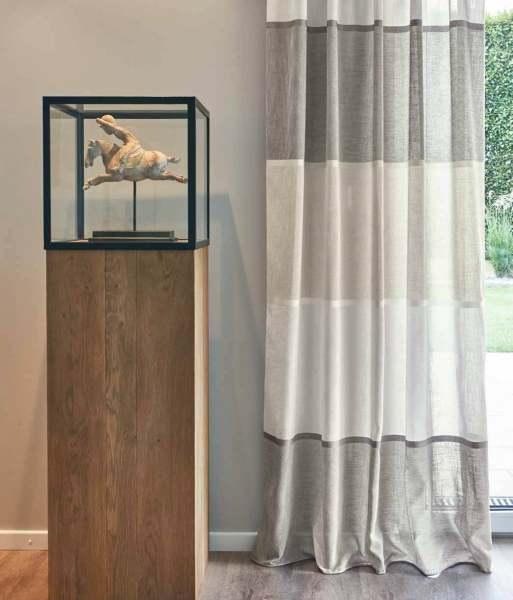 Vorhang Jumbo Gardisette halbtransparent mit Streifen I weiß,beige,grau für Schienen&Stangen