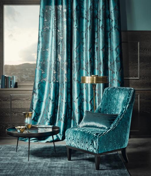 Moderner Dekovorhang Glory I Elegantes Dessin mit sanften Farbverläufen I türkis