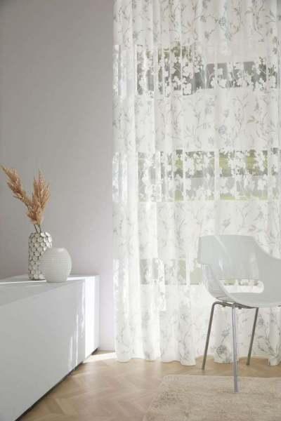 Vorhang Giulia eleganter Ausbrenner Floral/Blätter weiß/rose/blau halbtransparent Jab