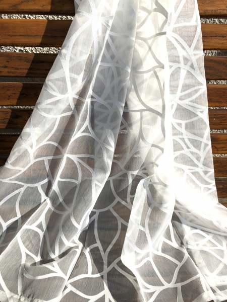 Design Vorhang Move moderner Ausbrenner I florales Muster I Farbe: weiß