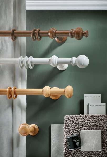 Delft Holz Vorhangstange mit Ringen rund I 1- läufig I 30mm I Wandmontage Interstil